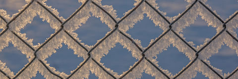 Chain-link fence with snow, winter background Royalty Free Stock Images