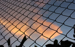 Chain link fence on sunset background Stock Photography