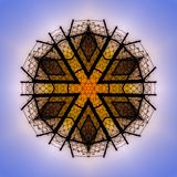 Chain link fence at sunset with blue sky abstract. Geometric kaleidoscope pattern on mirrored axis of symmetry reflection. Colorful shapes as a wallpaper for vector illustration