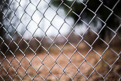 Chain link fence. A chain link fence surrounding a yard royalty free stock photo