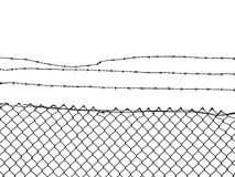 Chain Link Fence topped with Barbed Wire. Isolated on white ground Stock Images