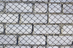 Chain link fence on white brick wall Royalty Free Stock Image