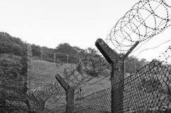 Chain-link fencing and Barbed wire Stock Photos
