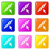 Chain link icons 9 set. Chain link icons of 9 color set isolated vector illustration Stock Photos