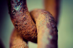 Chain link. Old rusty chain link macro Royalty Free Stock Image