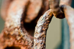 Chain link. Old rusty chain link macro Stock Image