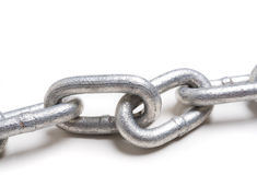 Chain link on white with copy space Royalty Free Stock Photo