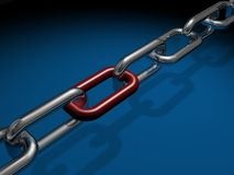Chain links. Chrome chain links against blue background Stock Photo