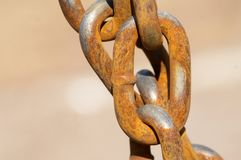 Chain links. The closeup of the old chain links Stock Photo