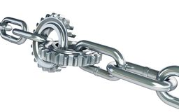 Chain links machine gear. On a white background Royalty Free Stock Photography
