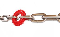 Chain links machine gear. On a white background Stock Photos