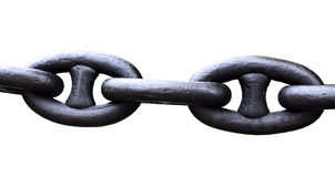 Chain of links of the old cast-iron isolated Stock Images