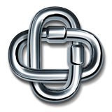 Chain links symbol of strength and unity. Chain links linked together as a symbol of strength and unity representing a strong team partnership working as one Stock Photo