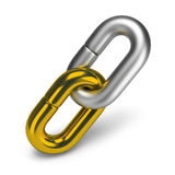 Chain links. Two chain link, gold and steel. 3d image. White background Royalty Free Stock Photos