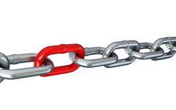 Chain links on a white background. Chain links isolated on a white background Stock Photos