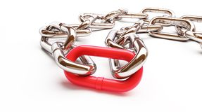 Chain links. On a white background Stock Photos
