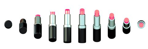 Chain of lip sticks Lipsticks Royalty Free Stock Photos