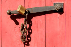 Chain and Lock. Vintage Wrought Iron Latch With Chain and Lock stock photos