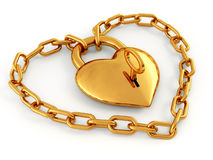 Chain with lock as heart Royalty Free Stock Photography