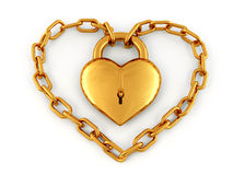 Chain with lock as heart Royalty Free Stock Photo