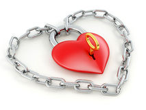 Chain with lock as heart Royalty Free Stock Photos