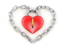 Chain with lock as heart Stock Photography