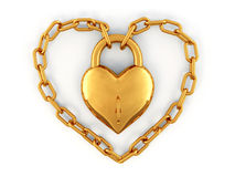 Chain with lock as heart Stock Image