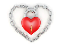 Chain with lock as heart Stock Images