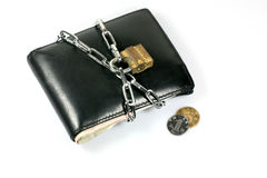 Chain lock Bundle up Wallet. Depicting Cut Down Expenses Stock Images