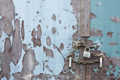 Chain and lock closed door locked and secure safe royalty free stock photography