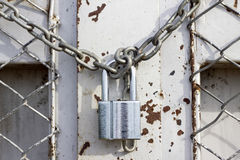 Chain Lock Door Outside Royalty Free Stock Image