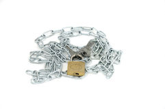 Chain with lock and key Royalty Free Stock Photo