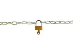 Chain lock with a key. Isolated on white background Stock Image