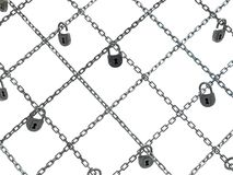 Chain Lock Net. Chains many crossing locked net, dark metal 3d illustration, isolated, horizontal, over white Stock Photography