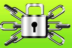 Chain and lock. Steel chain and lock isolated Royalty Free Stock Images