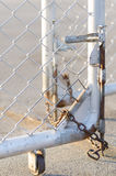Chain locked fence Stock Photo