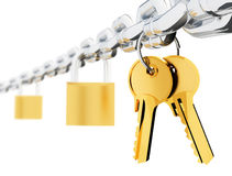 Chain locks and keys. 3d rendered image chrome chain two locks and two keys Stock Image