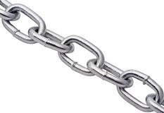 Chain macro. Close up of metal chain on white background with details showing in metal Stock Photos