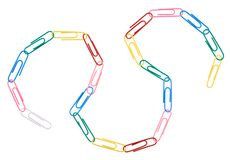 Chain made of office paper clips Stock Photo