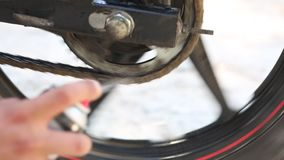 Chain Maintenance Close Up stock video footage