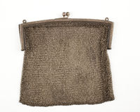 Chain metal purse. Isolated against white background Royalty Free Stock Photos