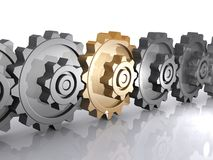 Chain of metallic gears Royalty Free Stock Photography