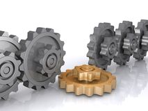 Chain of metallic gears without link Stock Photography