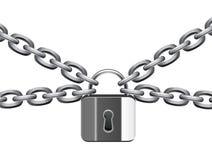 chain metallpadlock Arkivbilder