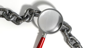 Chain Missing Link Magnifying Glass. A worn metal with a missing link breaking the cycle highlighted by a magnifying glass with a red handle on an isolated Royalty Free Stock Images