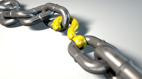 Chain Missing Link Question. A worn chain with a question mark as one of its links on an isolated background Stock Photo