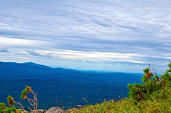 Chain of mountain peaks of the Northern Urals Stock Photography