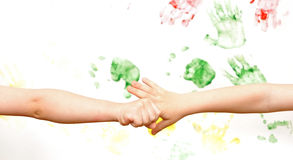 Chain Of Childrens Hands Stock Images