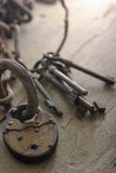Chain and old keys Royalty Free Stock Photo