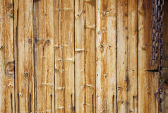 Chain on Old Wooden Planks Background Texture Royalty Free Stock Photo